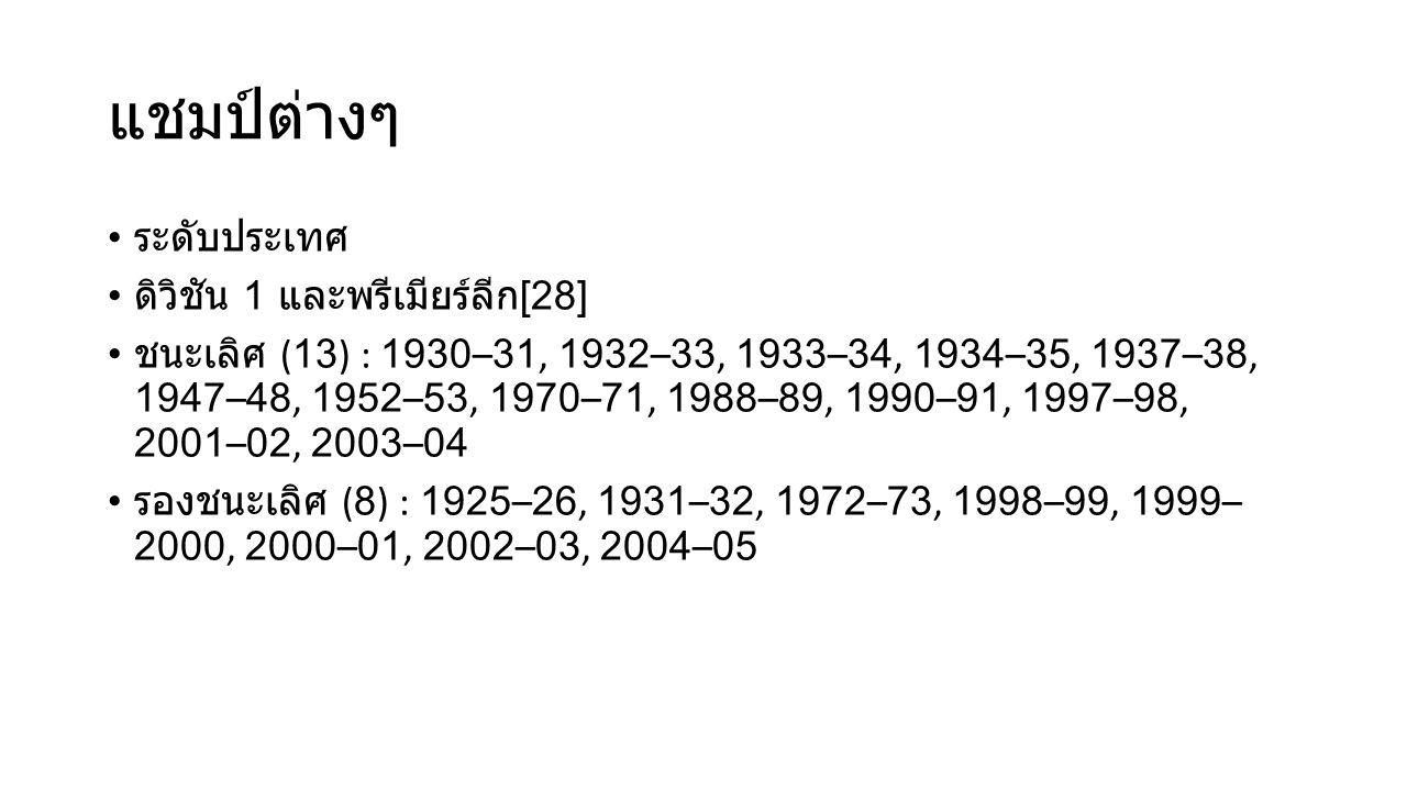 แชมป์ต่างๆ ระดับประเทศ ดิวิชัน 1 และพรีเมียร์ลีก[28]